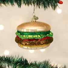 CHEESEBURGER GLASS ORNAMENT! Silly Fun Food Joke Funny 50's Nostalgic Christmas