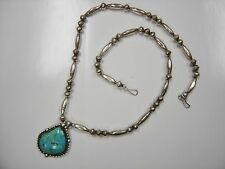 Southwest Sterling Turquoise Beaded Necklace  0011-T