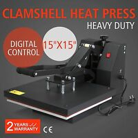 "New 15"" X 15"" CLAMSHELL HEAT PRESS T-SHIRT Digital TRANSFER SUBLIMATION MACHINE"