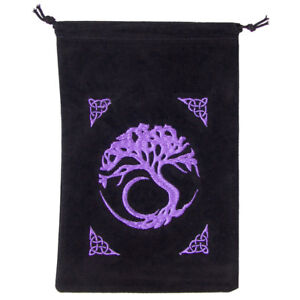"""NEW Embroidered Tree of Life Velveteen Tarot Bag 5x7"""" Celtic Pagan Velvet Pouch"""