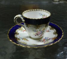 Coalport England Porcelain Demitasse Cup & Saucer Cobalt Hand Painted