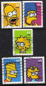 Scott #4399-4403 Used Set of 5, The Simpsons
