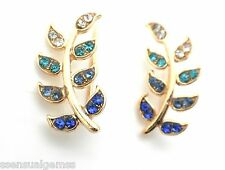 New Gold Ear Cuff Pins Trails up Lobe Earrings Wrap Pair Illuminating Crystals