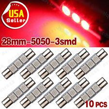 10x Pure Red 5050 28mm 3-smd Festoon Dome Map Cargo LED Light Bulb DE3021 DE3022