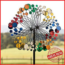 Garden Wind Spinner Kinetic Metal Yard Sculpture Landscape Windmil Outdoor Stake