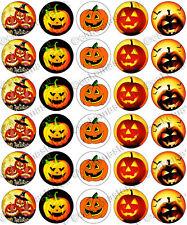 30 X Halloween Tenebroso Pumpkins parte comestible de arroz Oblea papel Cupcake Toppers