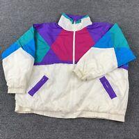 Vintage Slade Women's XXL Full Zip Colorblock Windbreaker Jacket Mockneck Retro