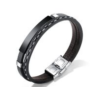 New Men Braided Leather Bracelet Multilayer Bangles Stainless Steel Punk Black