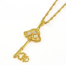 Ladies 22K Yellow Gold GP Key Pendant Crystal Necklace N39