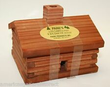 "medium LOG CABIN INCENSE BURNER 4""x3.5""x3.25"" + 10 3/8"" balsam fir logs Paine's"