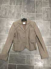 OASIS SIZE 10 BROWN STRIPED SHORT JACKET WITH STITCHING DETAIL