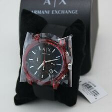 NEW AUTHENTIC ARMANI EXCHANGE OUTER BANKS RED BLACK SILICONE MEN'S AX1338 WATCH