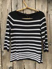 NWT Rag & Bone Jeans 'Sara' Black White Striped Top Sweater Sz L New $220 *6134