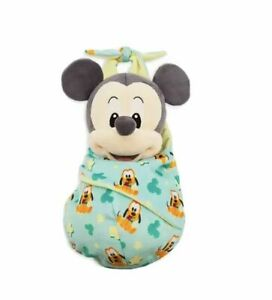 Disney Store Authentic Mickey Mouse Soft Plush Toy in Pouch New Born Baby Gift