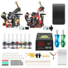 Complete Tattoo Machine Set Coil Tattoo Kit Tattoo Ink Power Supply Box TK216