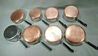 Vintage Revere Ware 8 Piece LOT/SET Sauce Pans Skillets Steamer-NO LIDS - NICE