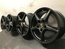 """Original Porsche 997 C2 Carrera Felgen 18"""" 99736213600&99736214001 Schwarz Matt"""