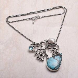 waves-Turquoise Pearl Ethnic Handmade Necklace Jewelry 25 Gms AN 64372
