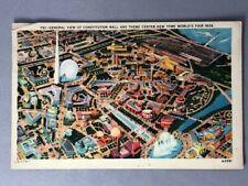 1939 Aerial View NEW YORK WORLD's FAIR Postcard Constitution Mall Theme Center