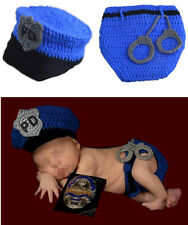 Newborn Baby Boys Crochet Knit Policeman Costume Photography Photo Props Outfits