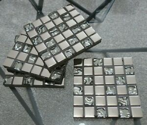 Beautifully Handmade Set of 4 Quality Mosaic Coasters Silver Chrome