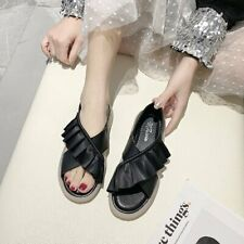 Ladies Casual Flat Breathable Cozy Peep Toe Sandals Faux Leather Womens Shoes
