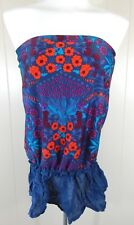 Marc by Marc Jacobs Women's M Tankini Top Blue Floral Strapless Ruffle EUC