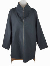 Women's Akris Black Tan Reversible Cotton Nylon Long Sleeve Jacket Coat Size 6