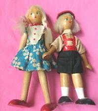 "Vintage Wooden Peg Doll Figures 7.5"" Boy & Girl Poland"