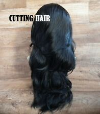 CUTTING HAIR - Sexy Off Black Perfect Layers Long Curly 3/4 Wig Half Wig 050-1B