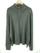 Mens RALPH LAUREN 1/4 Half Zip Knit Jumper Sweater Grey | XXL 2XL