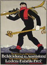 Vintage Ski Posters BEKLEIDUNG U. AUSRUSTING, Germany, 1913, 250gsm Travel Print