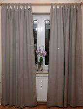 Vorhang Gardine SET 2St 140x245cm 100% Öko Leinen Grau Landhaus Shabby Retro