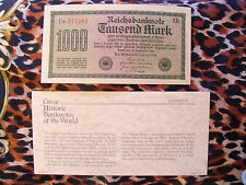 Great Historic Banknotes Germany 1922 1000 Marks  UNC Prefix Ea372404XB