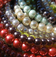 Glass Pearl Round Beads for Jewellery Making x 50
