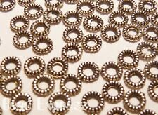 50pc Donut Round Ring Small Tibetan Silver Metal Spacer Beads 4.5mm (E009)