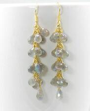 Blue Flash Labradorite Facet Earrings dangle 14k solid gold Cluster Chandelier 2