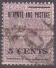 Ceylon 1885 5c on 18c surcharge with watermark reversed - SG187x used Cat. £350