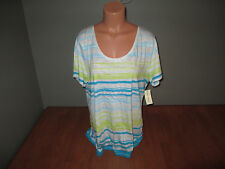 New Womens Size XL Studio Works Modern Striped Blue Top Shirt Scoop @@