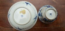 Antique Chinese cup/bowl and saucer blue white porcelain Marked with Swastika