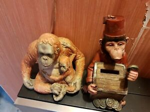Two Monkey Ornaments one's a money box