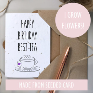 Handmade Happy Birthday Best Friend Card SEEDED plantable eco-friendly recycled