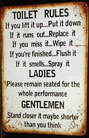 TOILET RULES Garage Rustic Look Vintage Tin Metal Signs Man Cave, Shed & Bar Pub