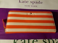 NWT Kate Spade Zip Around Wallet LACEY PWRU3447 Harrison St Orange Blush Stripe