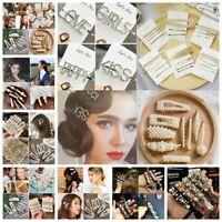 Women Crystal Pearl Hair Clip Snap Barrette Stick Hairpin Bobby Hair Accessories