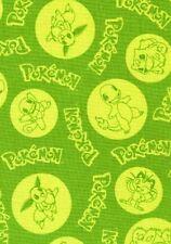 Pokemon ir Personajes Dibujos Animados Verde Pikachu cuarto Gordo Tela de Algodón de jugador
