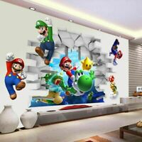 Super Mario Bros Kids Cartoon Wall Sticker Decals Nursery Home Decor FREE SHIP