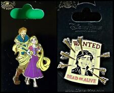 Disney Parks 2 Pin Lot TANGLED Rapunzel with Flynn + Wanted poster pin