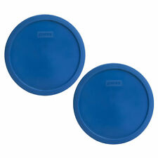 Pyrex 7401-PC 3 Cup Lake Blue Round Plastic Replacement Lid 2PK for Glass Bowl