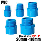 """1/2"""" to 4"""" PVC Nipples Threaded Pipe Fittings Connector BSP Male Adapter Blue"""